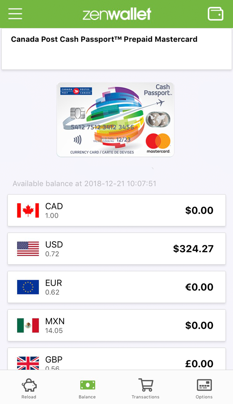 Zenwallet balance screen