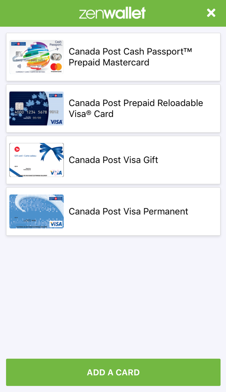 zenwallet wallet screen - Visa Gift Card Canada